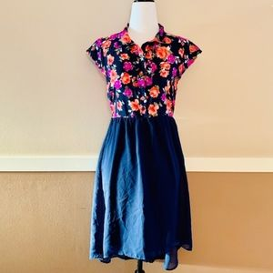 Faded Glory Pink Blue Floral Girl's Dress XL 14-16